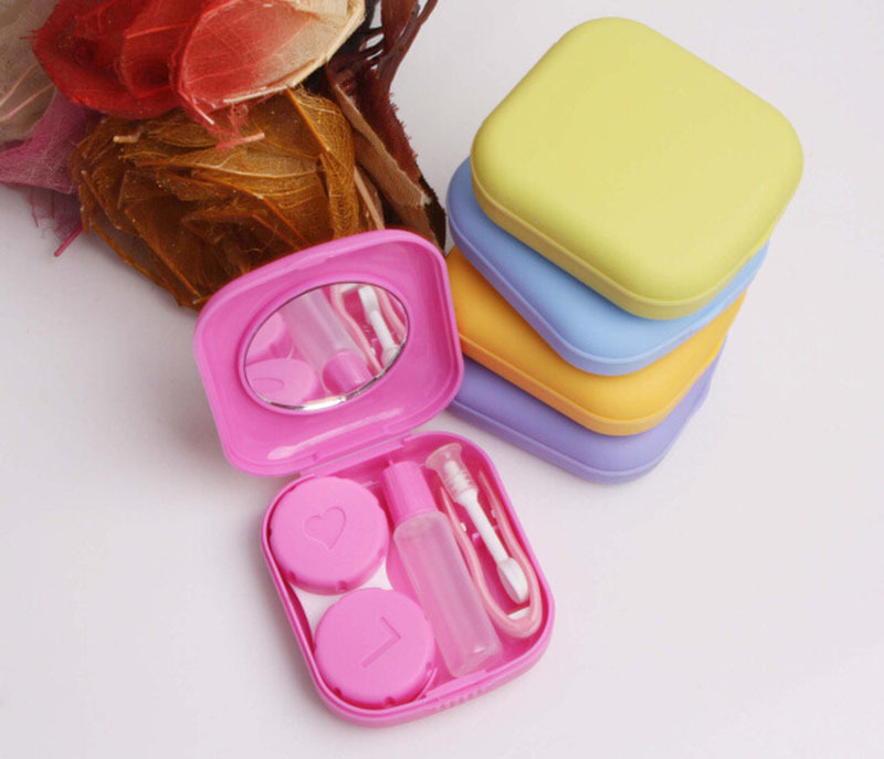 Good Quality Travel Mini Storage Contact Lens Holder Case With Mirror+1*chuck+1*tweezers+1*Double Box+1*Plastic Bottles
