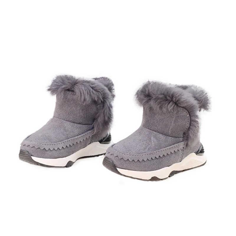 Dolakids Nieuwe winter warm baby snowboots kinderen leren laarzen konijn haar en pluizen katoen voor jongens en meisjes voor 1-16 jaar