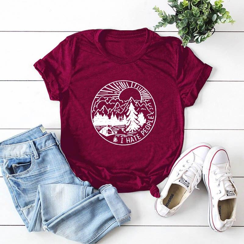 Women Summer Print Cotton Tee Shirt Casual Beautiful Scenery Cartoon Tops Harajuku Aesthetic Basic T-Shirt Camisas
