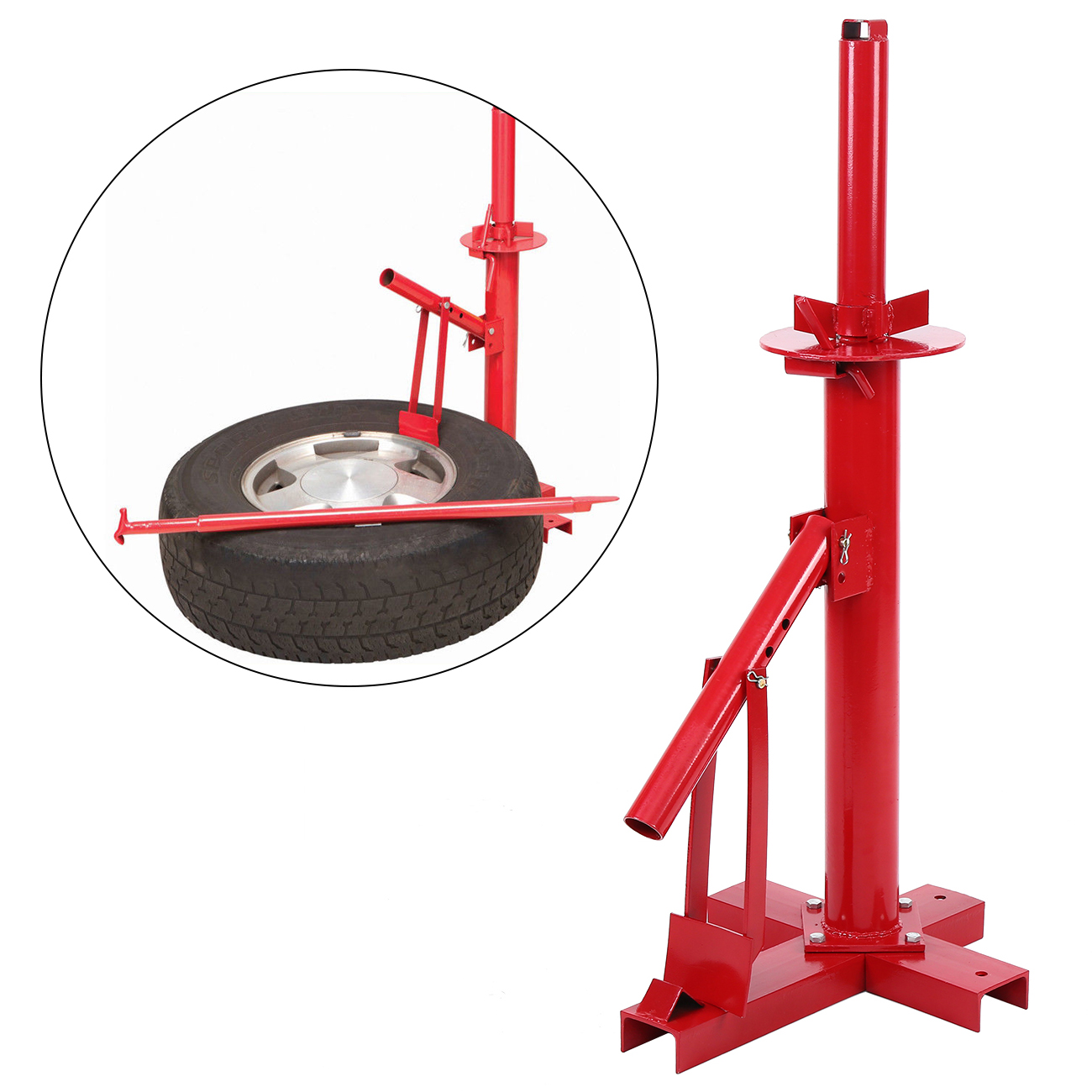 Samger Tire Changer Manual Operation Tire Changing Mach For Car Truck Van Camper Caravan Tire Dismantling Machine Vacuum Red