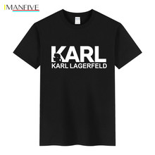 Summer Hot Sale New Tee Karl Lagerfeld Print Funny T Shirts Men T-Shirt Top Quality Cotton Hip Hop Short Sleeve T shirt Men Tops new tot sale plus size t shirt men gradient color short sleeve printed funny t shirts summer fashion hip hop men tee shirt top