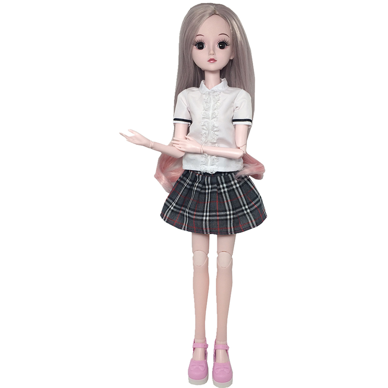 <font><b>1/3</b></font> Doll <font><b>Clothes</b></font> Accessory School Uniform For 60CM <font><b>BJD</b></font> Doll Shirts Plaid Strap Skirt Doll Accessories image