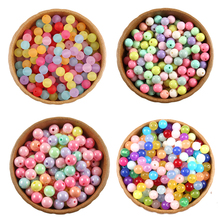 4 6 8 10 12mm Mixed Color Acrylic Round Loose Beads for Needlework Jewelry Making Diy Bracelet Necklace Accessories Wholesale