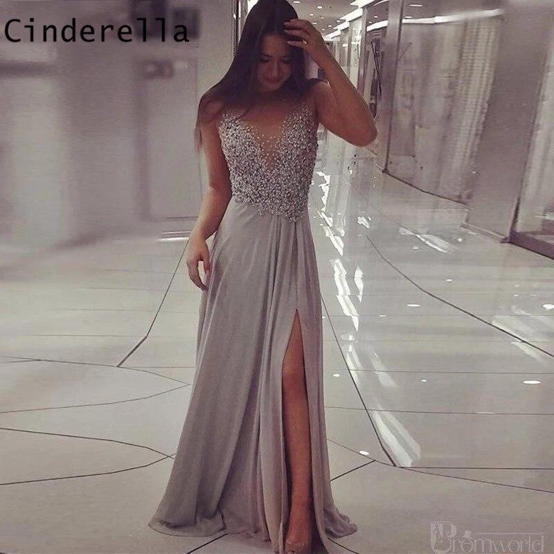 Scoop Prom Dresses Sleeeveless Zipper Back Floor Length Side Slit Chiffon Pearl Beaded Prom Dresses Vestidos De Fiesta De Noche
