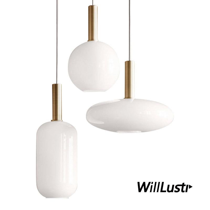 Işıklar ve Aydınlatma'ten Kolye ışıkları'de Iskandinav süt cam kolye işık yuvarlak Oval silindir cam asılı lamba yemek odası otel restoran salonu çalışma ofis yatak odası title=