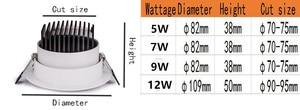 Image 5 - Dimbare LED COB Downlight AC110V 220V 5 W/7 W/9 W/12 W Verzonken LED spot Light lumination Indoor Decoratie Plafondlamp