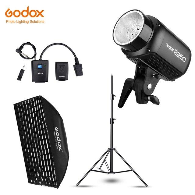 Godox E250 250Ws fotografia błyskanie studyjne światło stroboskopowe + 50x70 cm Gird Softbox + 180cm lekki statyw + AT 16 Trigger Flash Kit