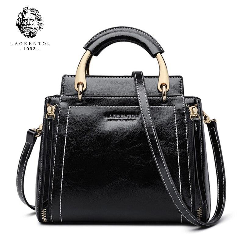 Laorentou Brand Women Stylish Bags Split Leather New Design Female High Quality Crossbody Bags Sold Retro Totes For Girls