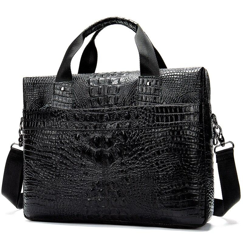 Men Briefcase Mans Bag Leather Genuine Men Business Briefcase Men Leather Bag Laptop Porte Document Crocodile Pattern       5555