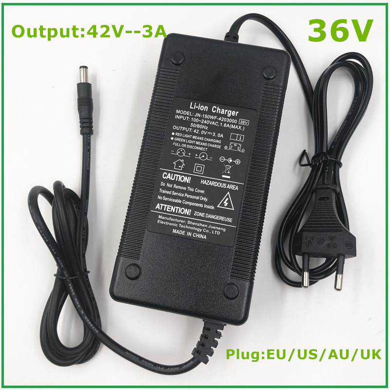 36V 3A Battery Charger Output 42V 3A Charger Input 100-240 VAC Lithium Li-ion Li-poly Charger For 10Series 36V Electric Bike