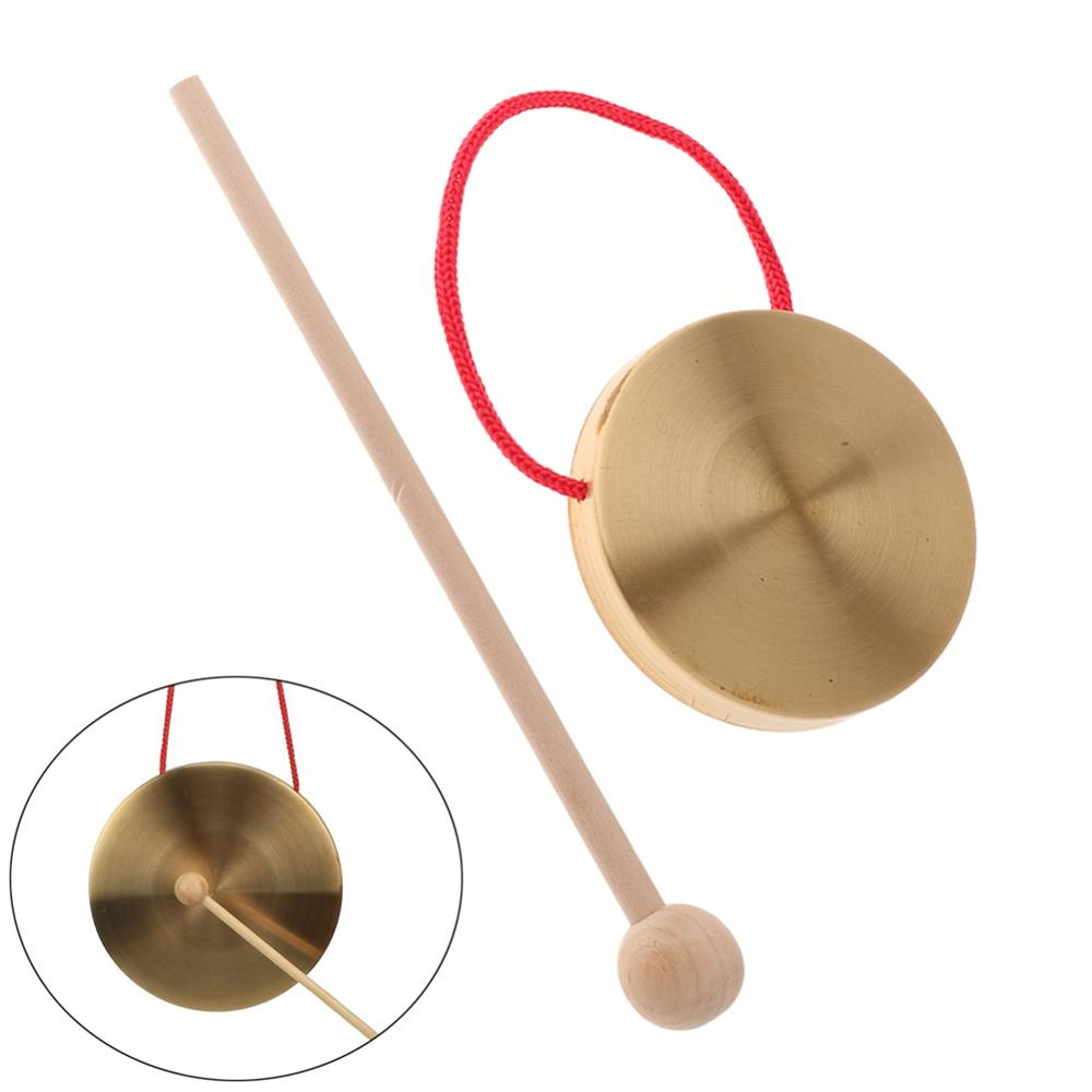 Mini Hand Gong Cymbals W/ Wooden Stick For Band Rhythm Percussion Kids Music Toy  Gift 10cm / 4