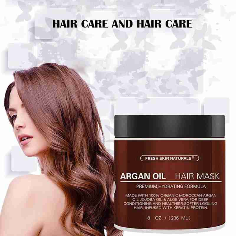 Organic Argan Oil Hair Treatment Conditioner Hair Care Nourishing Essential Oil Hydrating Repair Damaged Hair Improve Hair Type image