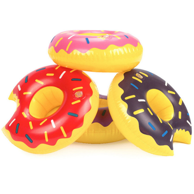 Fruit Donuts Unicorn Inflatable Drink Can Beer Holder Swan Flamingo Beach Toys