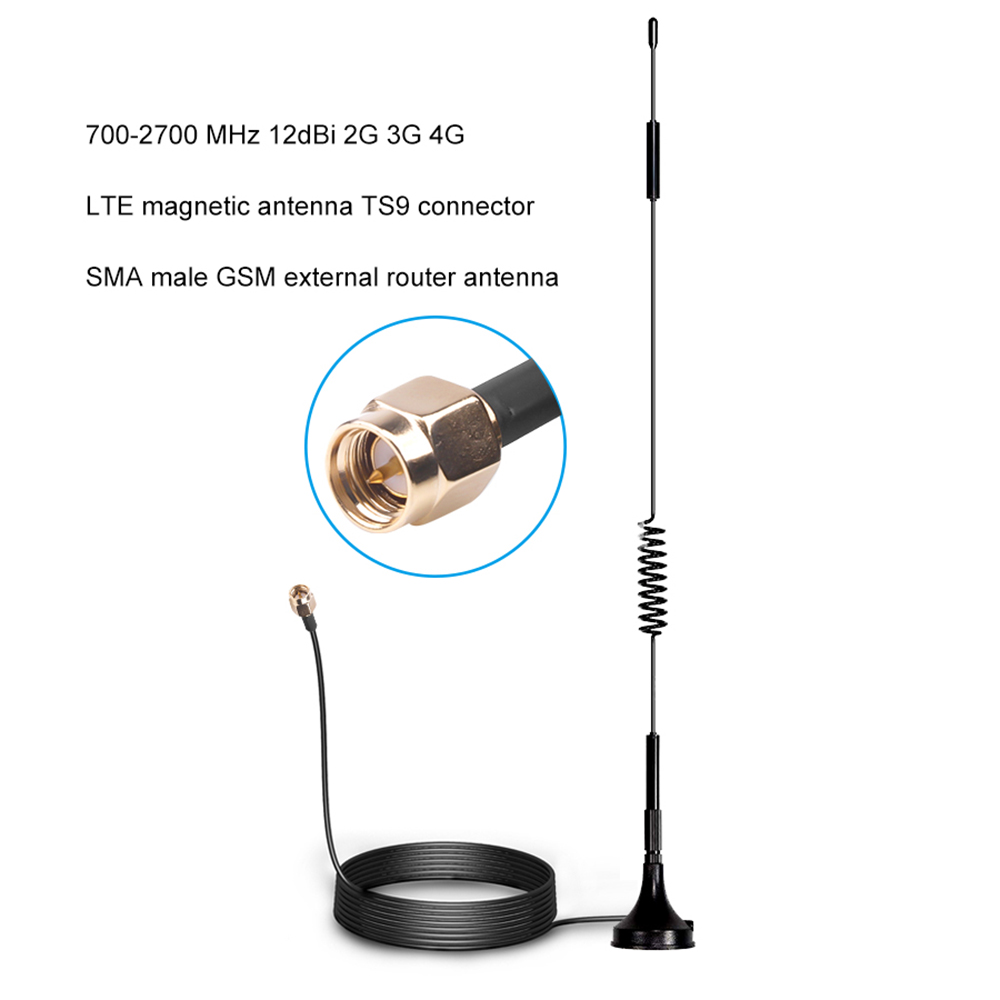 Антенна внешняя Магнитная TS9 CRC9 SMA, 700-2700 МГц, 12 дБи, 2G, 3G, 4G, LTE, 1,5 м