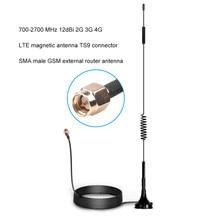 700-2700mhz 12dbi 2g 3g 4g lte antena magnética ts9 crc9 sma conector masculino gsm roteador externo antena 1.5m