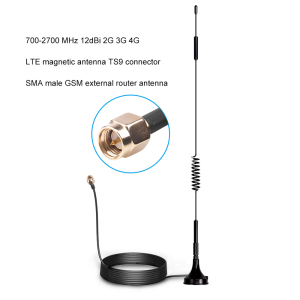 700-2700MHz 12dBi 2G 3G 4G LTE Magnetic Antenna TS9 CRC9 SMA Male Connector GSM External Router Antenna 1.5m