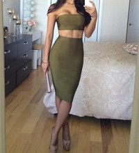 4 Color Women Set In Womens Sets Bodycon Strapless Two Pieces Bandage Celebrity Nightclub Party