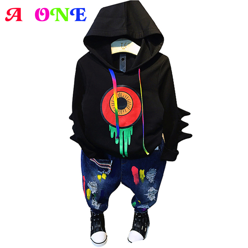 Spring Autumn 3d figure sleeve cartoon print hoodie sweatshirt + jeans pants boys 2 pcs set children suit kid clothes 2 to 8 yrs