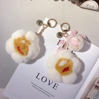 Korea Creative Water Mane Flower Keychain Everlasting Flower Real Flower Bag Pendant Car Key Cute Charm Keychain