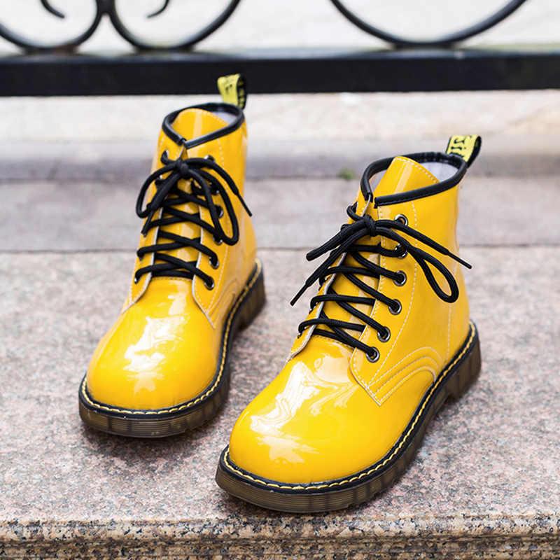 Glitter รองเท้าหนังสีเหลืองสีดำบู๊ทส์บู๊ทส์ผู้หญิง 2019 ใหม่สีขาว COMBAT ข้อเท้ารองเท้าผู้หญิง Lace Up PUNK รองเท้า