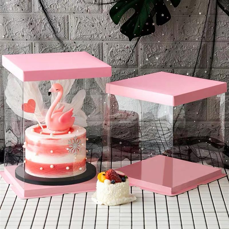 Caixa de embalagem de bolo de 4 pces caixa de embalagem de bolo recipiente de transparência caixa de bolo Material para embrulhos e bolsas de presente    -