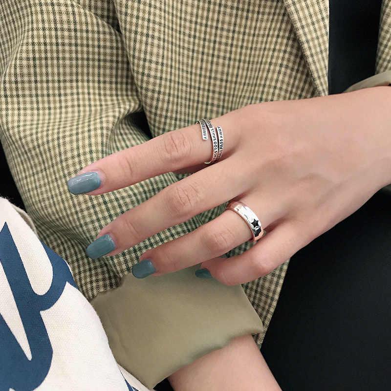 Настоящее 100% 925 пробы серебристый неправильной формы поверхности колец для женщин, Винтажное кольцо с черной звездой femme anel Стерлинговое серебро ювелирные изделия