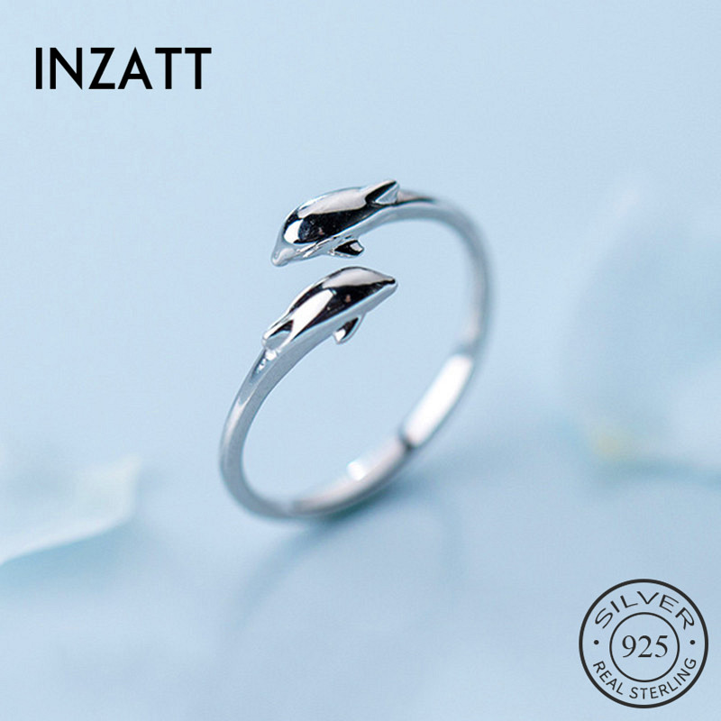 INZATT Real 925 Sterling Silver Dolphin Opening Ring For Fashion Women Trendy cute Fine Jewelry Minimalist Accessories 2019 Gift