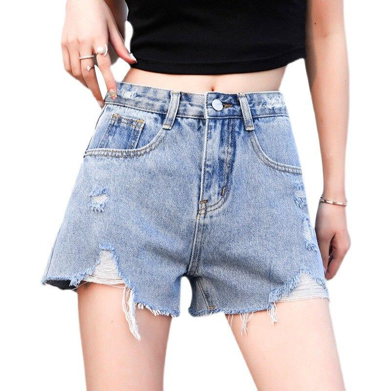 2021 Ripped Denim Shorts Women's Summer New High-waist Wide-legged Thin A-line Wild Loose Three-point Hot Pants