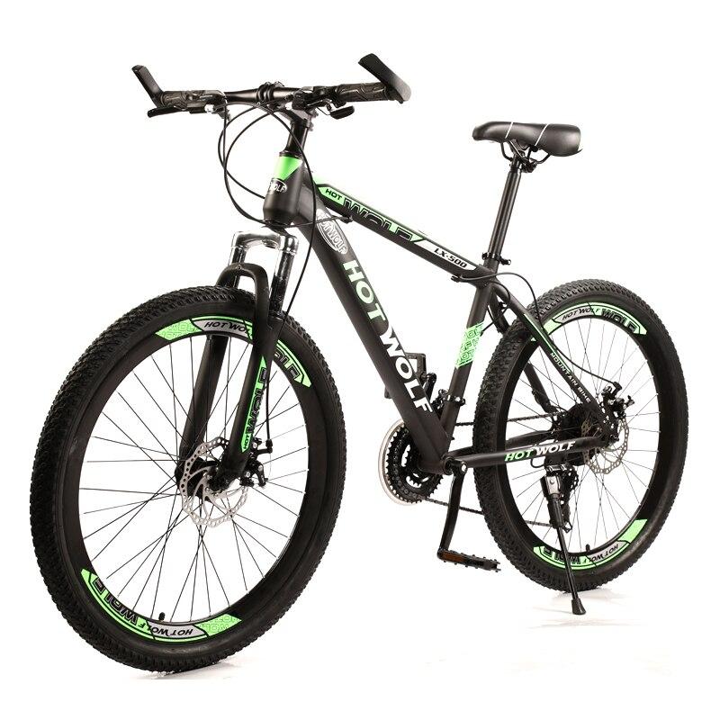 HOT WOLF новый велосипед 26 дюймов 24 скорости высокоуглеродистая сталь подвеска велосипед двойной дисковый тормоз горный велосипед Бесплатная доставка