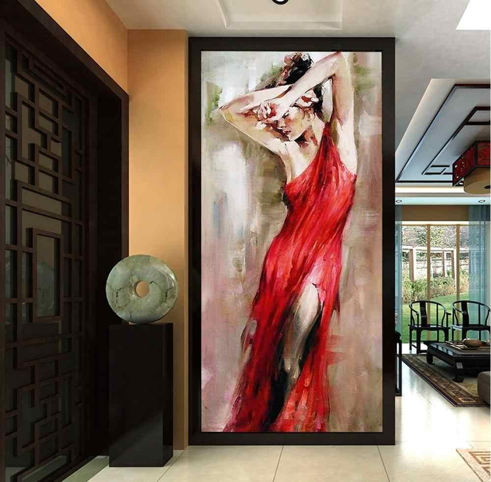 [自己粘着] 3D のファッションの女性赤ドレス WG567 壁壁紙壁画壁印刷デカール壁の壁画ベリー