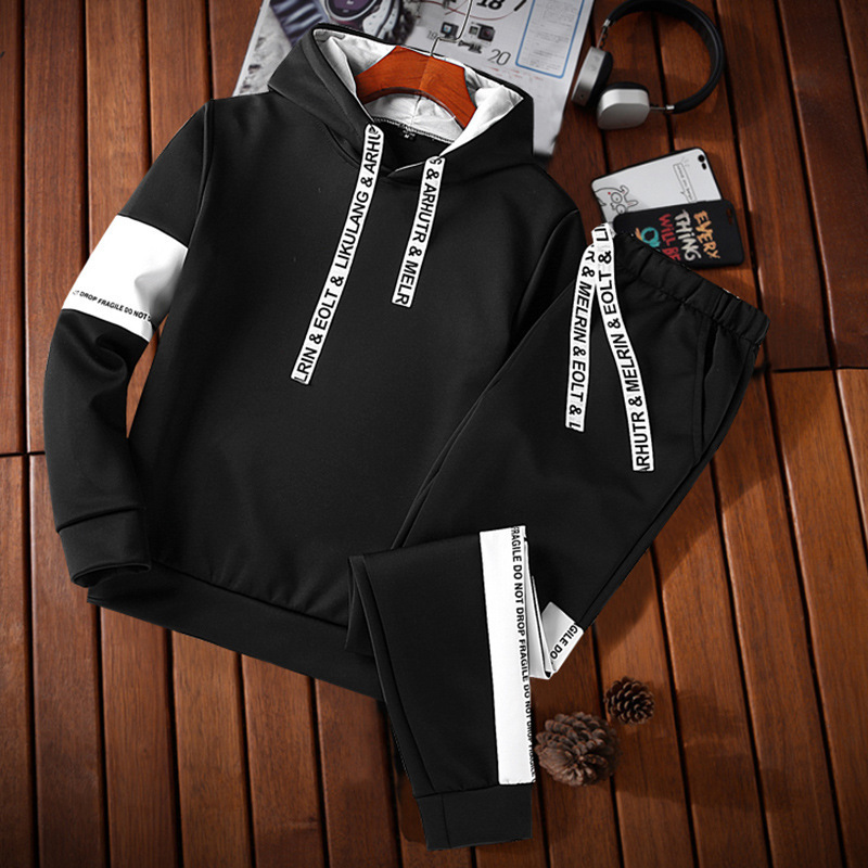 MEN'S Sportswear New Style Spring Autumn Winter Brushed And Thick Hooded Casual Hoodie Suit Teenager T-shirt Suit Fashion