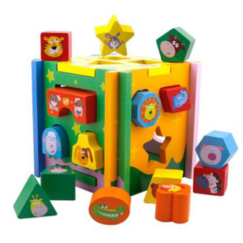 1Set Educational Cube Bricks Sorting Box Wooden Baby Intelligence Toy Disassembly Blocks Animal Geometric Shape Matching Blocks
