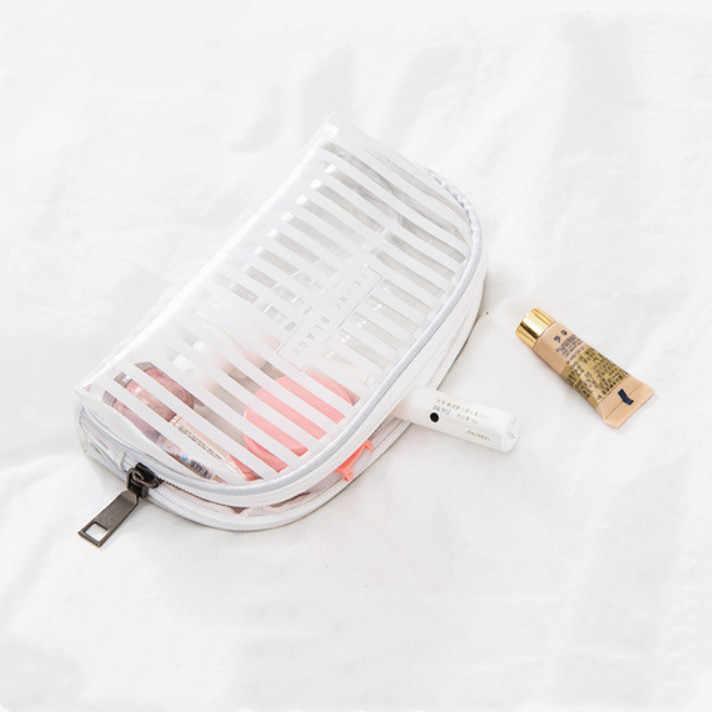 1 جهاز كمبيوتر شفاف مخطط التجميل حقيبة واضح النساء حقيبة مستحضرات تجميل السفر المنظم طقم أدوات تجميل kosmetyczka دروبشيبينغ