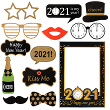 Glasses-Frame Photo-Booth-Props Decor-Supplies Christmas-Decoration Happy Party Gold
