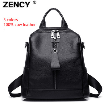 ZENCY Classic 100% Genuine Cow Leather Black Hardware Women's Backpacks Lady Girl First Layer Cowhide Female School Book Bags