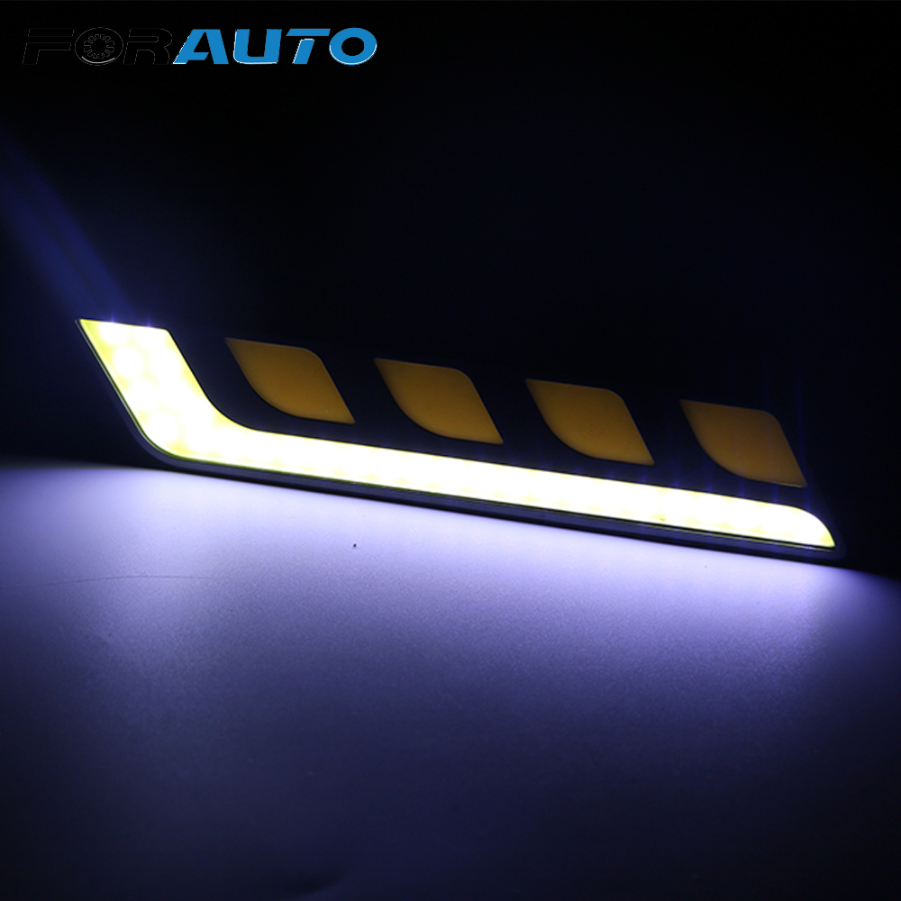 FORAUTO 2pcs/set Daytime Running Lights Auto Day Light Car DRL COB LED Headlight Bar Turn Signal Lights Fog Lamps Car-styling