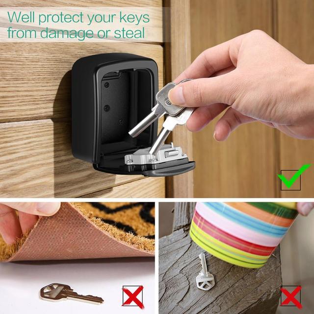 ORIA Password Key Box Decoration Key Code Box Key Storage Lock Box Wall Mounted Password Box Outdoor Key Safe Lock Box 6