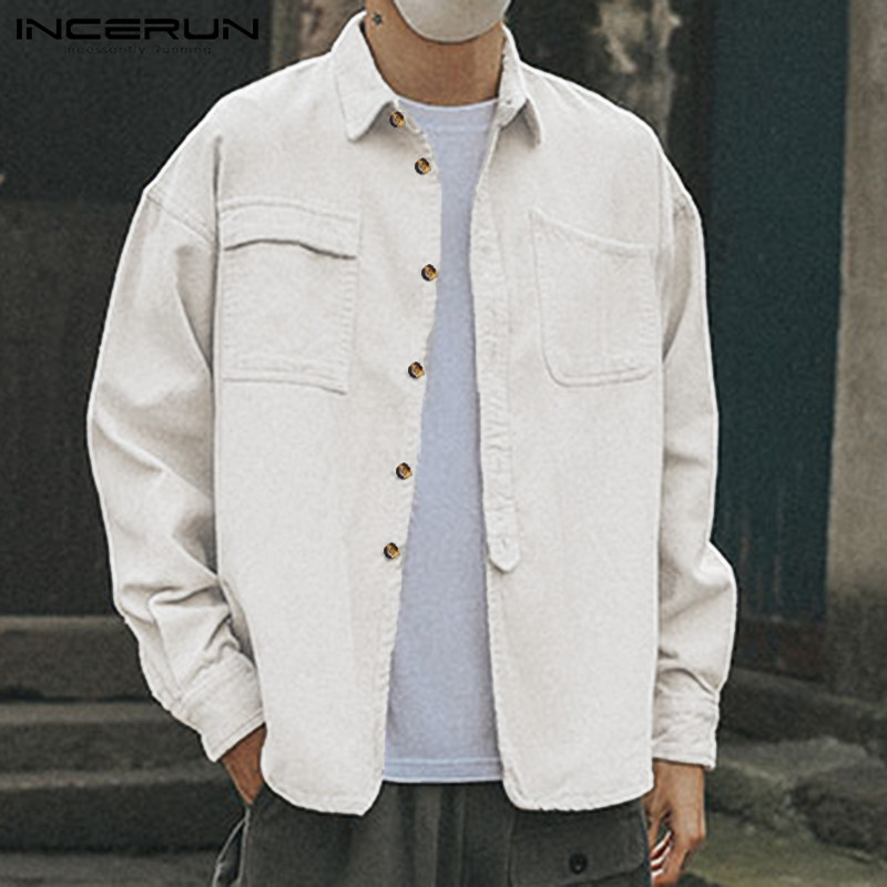 INCERUN Corduroy Shirt Men Long Sleeve Streetwear Brand Lapel Pockets Solid Tops Loose Fashion Button Casual Outwear Shirt Men 7