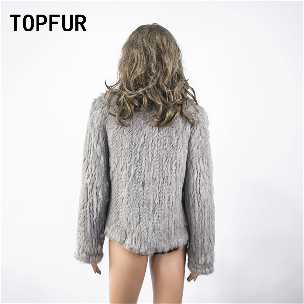 TOPFUR Winter Gray Cardigans Women Hand Knitted Jacket Natural Rabbit Fur Coat Women Full Sleeves Sweater Loose Knitted Sweater - 2