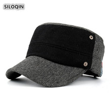SILOQIN  Trend Snapback Mens Flat Cap Autumn Winter Thicken Keep Warm Military Hats Adjustable Size Leisure Motion Tourism