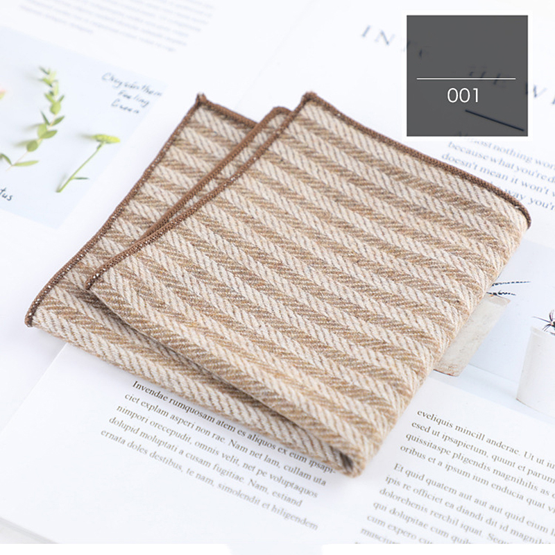 High Quality Men Wool  Hankerchief Scarves Vintage Cotton Hankies Men's Pocket Square Handkerchiefs Casual Style For Parties