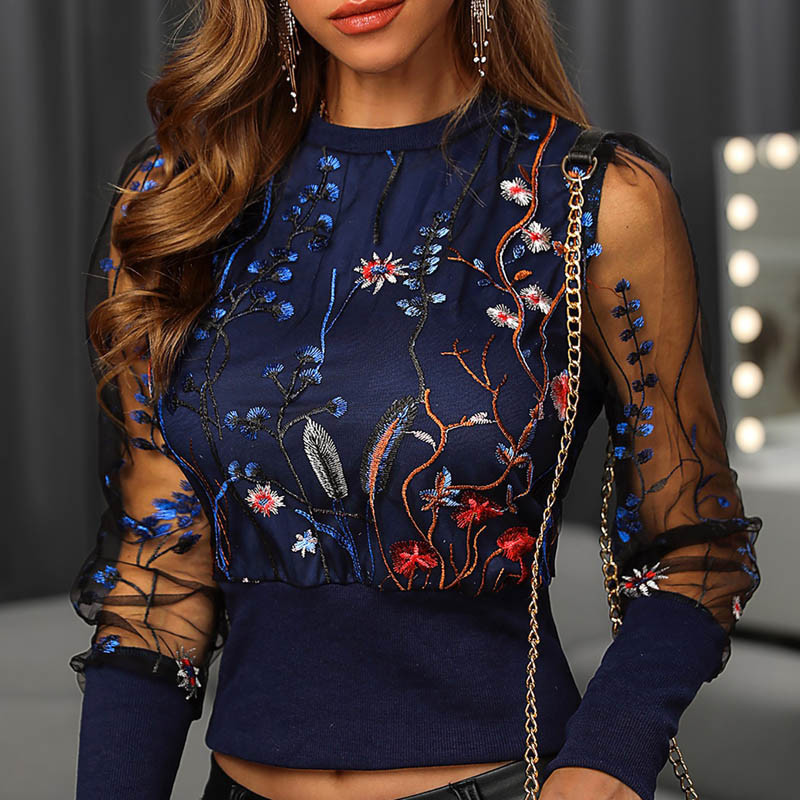 New Mesh Sleeve Blouse Shirts  Embroidery Floral Sheer Women 2020 Spring Patchwork Pullovers Elegant Sexy See Through Tops