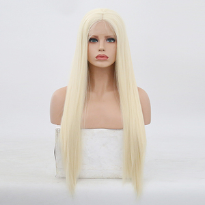Image 2 - High Temperature Hair Lace Wig Long Silky Straight Wigs for Women Blonde Synthetic Lace Front Wig Middle Part Blonded Wigs