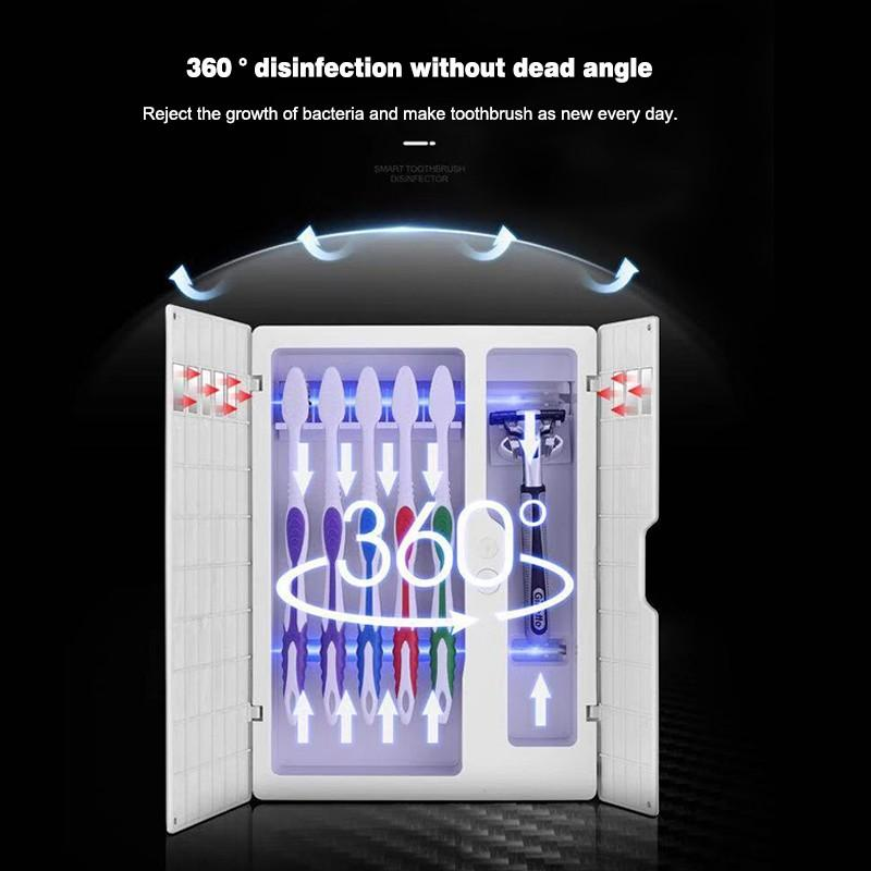 Solar Energy UV Toothbrush Disinfectant Cleaning Agent Storage Bathroom No Need To Charge Toothpaste Dispenser Holder SanitizerToothbrush & Toothpaste Holders   -