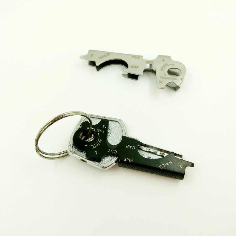 1PCS 8-em-1 Multi Ferramentas EDC Keychain Gadget Multi-função de Equipamento de Sobrevivência Ao Ar Livre de Aço Inoxidável ferramenta de bolso