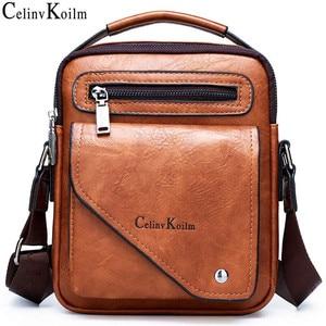 Image 1 - Celinv Koilm Männer Tasche Berühmte Designer Männer Schulter Messenger Taschen Split Leder Crossbody tasche Männer Mode Business Hohe Qualität
