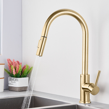 Kitchen Sink Faucet Mixer-Tap Brushed Pull-Out Quyanre Rotation Single-Handle 360