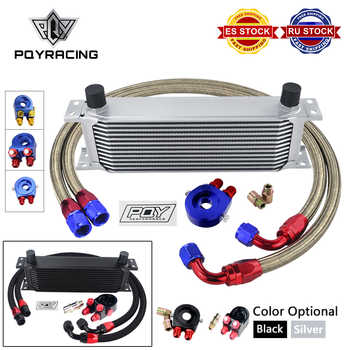 UNIVERSAL 13 ROWS OIL COOLER KIT + OIL FILTER SANDWICH ADAPTER + NYLON STAINLESS STEEL BRAIDED AN10 HOSE W/ PQY STICKER+BOX - DISCOUNT ITEM  9 OFF Automobiles & Motorcycles