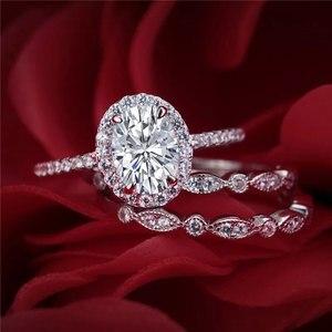 Image 3 - Newshe מוצק 925 כסף חתונת טבעת אירוסין סט לנשים סגלגל צורת AAA זירקונים אמנות דקו להקות תכשיטים קלאסיים