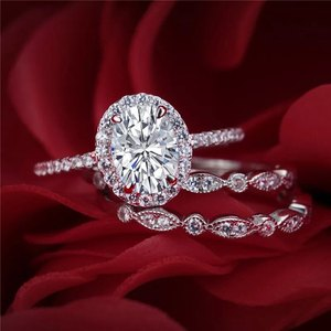 Image 3 - Newshe plata sólida 925 conjunto de anillo de compromiso de boda para mujer, circonitas de forma ovalada AAA, bandas de decoración artística, joyería clásica